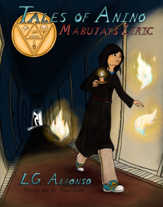 Cover art of a girl walking down a dark hallway holding candles and surrounded by floating lights